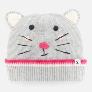 Joules Girls' Mouse Beanie - Grey - 3-7 Years