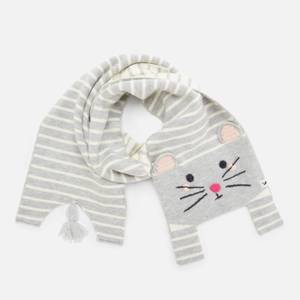 Joules Girls' Mouse Scarf - Grey - 3-7 Years