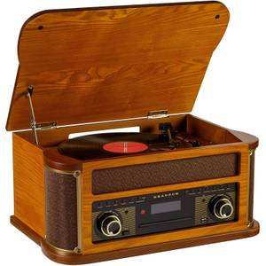 Grausch RPS500UK Retro Stereo System with Turntable, AM/FM Radio, Cassette, CD, USB and Bluetooth