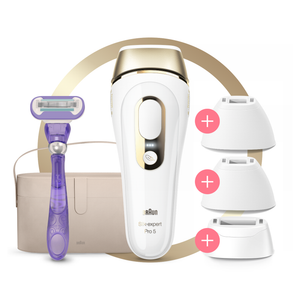 Silk-expert Pro 5 IPL with 3 Heads, Razor and Deluxe Pouch