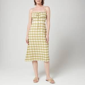 Faithfull The Brand Women's Raven Midi Dress - Ligne Check Print Olive