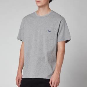Maison Kitsuné Men's Navy Fox Patch Classic Pocket T-Shirt - Grey Melange