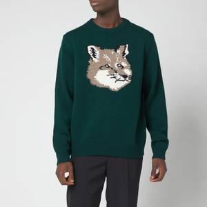 Maison Kitsuné Men's Big Fox Head Pullover Jumper - Dark Green