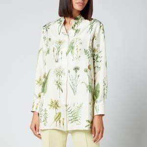Salvatore Ferragamo Women's Printed Leaf Shirt - Toni Hedren Green