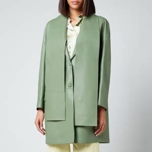 Salvatore Ferragamo Women's Long Leather Coat - Hedren Green