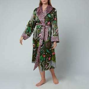 Karen Mabon Women's Stretch Silk Long Robe - Green/Pink