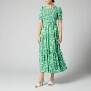 Kitri Women's Persephone Shirred Green Floral Dress - Green Floral