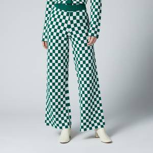 Kitri Women's Kara Checker Knitted Trousers - Green Checker