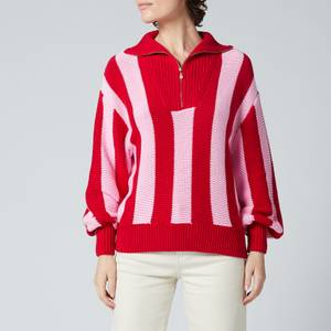 Kitri Women's Lorna Pink Stripe Cotton Sweater - Pink Stripe