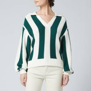 Kitri Women's Fay Green Stripe Cotton Polo Sweater - Green Stripe