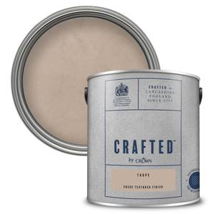 CRAFTED™ by Crown Suede Textured Matt Emulsion Interior Wall Paint – Taupe - 2.5L