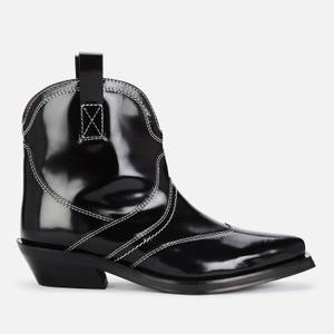 Ganni Women's Brus Off Leather Western Boots - Black