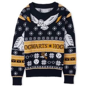 Harry Potter Owl Mail Kids Christmas Knitted Jumper Navy