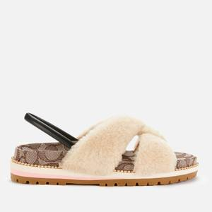 Coach Women's Tally Shearling Sandals - Natural