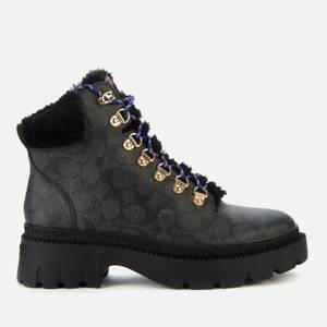 Coach Women's Janel Coated Canvas Hiking Style Boots - Charcoal