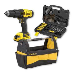 STANLEY FATMAX V20 18V Cordless Hammer Drill Kit plus 100 Piece Accessories Set and Open Tote Tool Bag Bundle