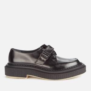 Adieu Men's Type 136 Leather Crepe Sole Single Strap Monk Shoes - Black