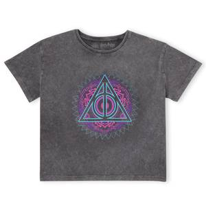 Harry Potter Deathly Hallows Neon Women's Cropped T-Shirt - Black Acid Wash