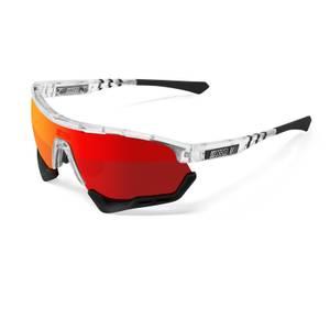 Scicon Aerotech XL Road Sunglasses - Crystal Gloss/SCNPP Multimirror Red