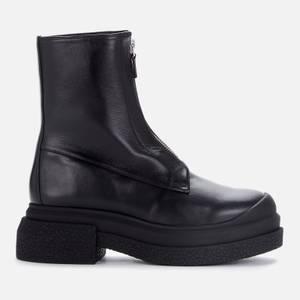 Stuart Weitzman Women's Charli Zip Leather Sportlift Boots - Black
