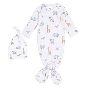aden + anais™ Comfort Knit™ Knotted Gown + Hat Gift Set Jungle Jammin (0-3 Months)