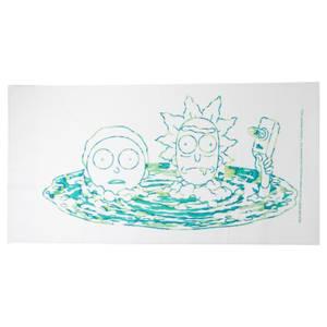 Rick and Morty Portal Heads Beach Towel