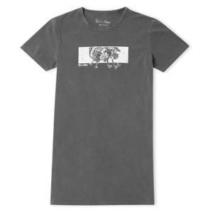 Rick and Morty Portal Fall Women's T-Shirt Dress - Black Acid Wash