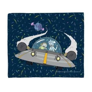 Rick and Morty Flying Space Adventure Fleece Blanket