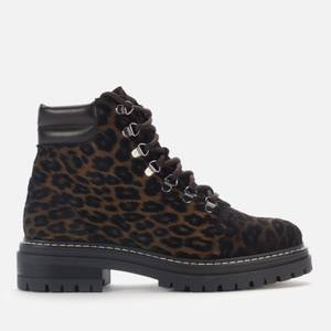 Whistles Women's Amber Leather Hiking Style Boots - Leopard Print