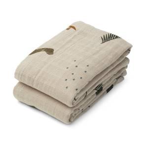 Liewood Lewis Muslin Cloth 2-Pack - Dino Dark Sandy Mix - One Size