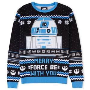 Merry Force Be With You Christmas Knitted Jumper Black
