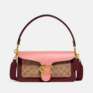 Coach Women's Coated Canvas Signature Colourblock Tabby Bag - Pink Multi