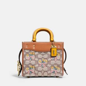 Coach Women's Signature Jacquard With Bouquet Embroidery Rogue Bag 17 - Brown