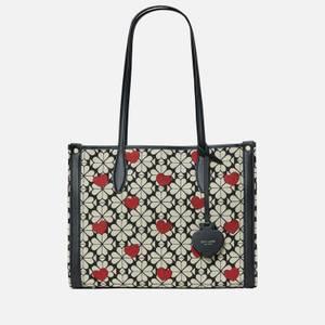 Kate Spade New York Women's Spade Flower Jacquard Hearts Tote Bag - Black Multi