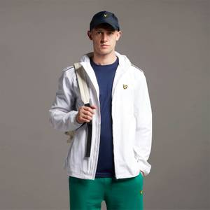 Hooded Jacket with Contrast Piping - White