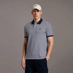 2 Colour Striped Polo - Navy