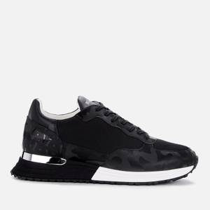 MALLET Men's Popham Camo Print Leather Running Style Trainers - Black