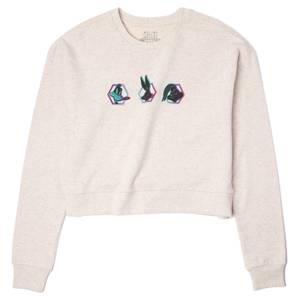 Space Jam Characters Women's Cropped Sweatshirt - Ecru Marl