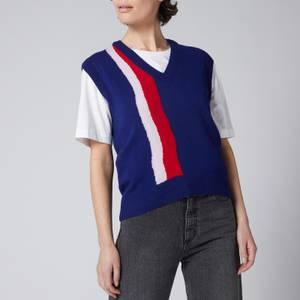 Être Cécile Women's Wavy V Neck Vest Knit - Navy Multi