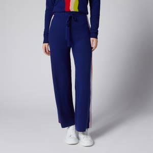 Être Cécile Women's Wavy Knit Wide Track Pants - Navy Multi