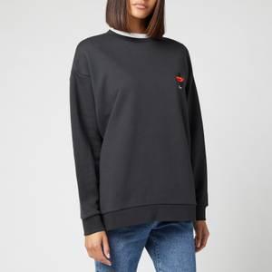 Être Cécile Women's Lips Legs Boyfriend Sweatshirt - Washed Black
