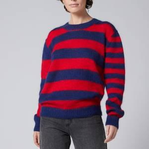 Être Cécile Women's Mohair Cecile Stripe Boxy Knit - Red/Navy