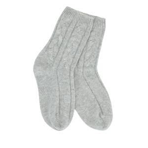 Grey Cashmere Cable Knit Socks