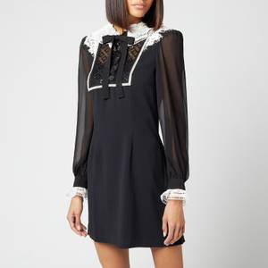 Self-Portrait Women's Diamante Trim Mini Dress - Black