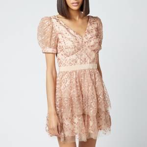 Self-Portrait Women's Grid Sequin Tiered Skirt Mini Dress - Beige