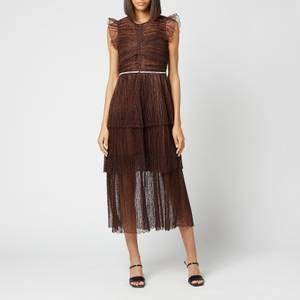Self-Portrait Women's Fine Lace Midi Dress - Fudge