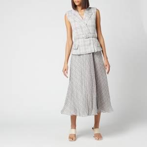 Self-Portrait Women's Tailored Check And Chiffon Midi Dress - Multi