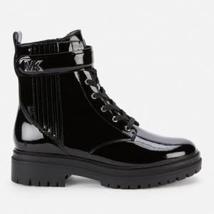 MICHAEL Michael Kors Women's Stark Patent Leather Lace Up Boots - Black