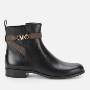 MICHAEL Michael Kors Women's Farrah Leather Flat Ankle Boots - Black