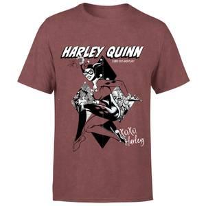 DC Comics Playing Card Harley Unisex T-Shirt - Burgundy Acid Wash